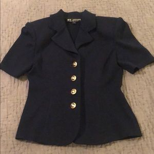 St John Navy Knit Top size 2
